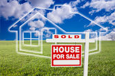 Sold For Sale Sign Over Clouds, House — Stock Photo