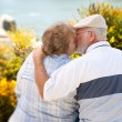 Happy Senior Couple Kissing at Park - Stock Photo