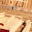 Stack of Building Lumber at Construction — Stock Photo