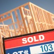 Sold Lot Sign and Framing Construction — Stock Photo