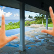 Stock Photo: Hands Framing Breathtaking OceView