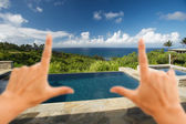 Hands Framing Pool and Hot Tub Overlooking View — Stock Photo