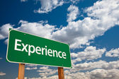 Experience Green Road Sign Copy Room — Stock Photo