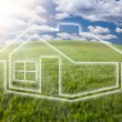 Dreamy House Icon Over Arched Horizon - Stock Photo