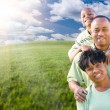 Happy African American Family Over Clouds, Sky — Stok fotoğraf