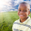 Handsome African American Boy Over Clouds, Sky — Stock Photo