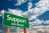Support, Just Ahead Green Road Sign — Stock Photo