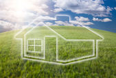 Dreamy House Icon Over Arched Horizon — Stock Photo