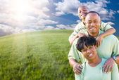 Happy African American Family Over Clouds, Sky — Stock Photo