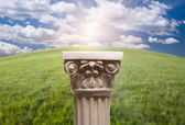 Column Pillar Over Arched Grass Horizon — Stock Photo