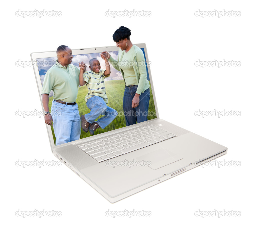 Happy African American Family in Laptop Screen Isolated on White.  Stock Photo #3207367