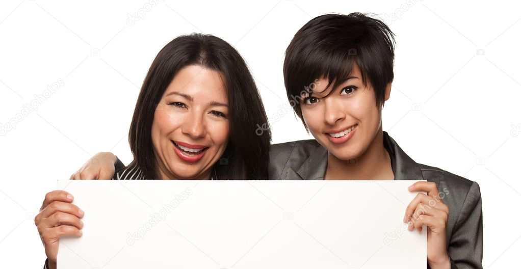 Attractive Multiethnic Mother and Daughter Holding Blank White Sign Isolated on a White Background. — Stock Photo #3246004