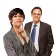 Businesswoman and Businessman Isolated on a White Background. — Stock Photo