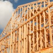 Abstract of New Home Construction Site Framing. — Foto Stock