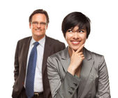 Attractive Businesswoman and Businessman Isolated on a White Background. — Stock Photo