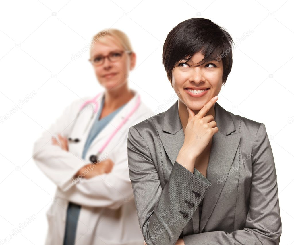 Young Multiethnic Woman and Female Doctor Isolated on a White Background. — Stock Photo #3277639