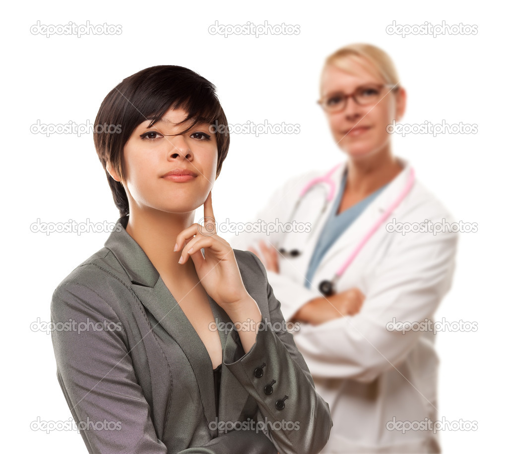 Young Multiethnic Woman and Female Doctor Isolated on a White Background.  Stock Photo #3277640