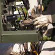 Utility Workers with Leather Gloves Installing New Electrical Equipment. - 图库照片