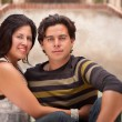 Attractive Hispanic Couple Portrait Enjoying Each Other Outdoors. — Stock Photo