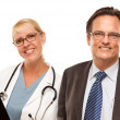 Stock Photo: Smiling Businessmwith Female Doctor or Nurse with Clipboard Isolated on