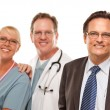 Smiling Businessman with Male and Female Doctor or Nurse Isolated on a Whit — Stock Photo