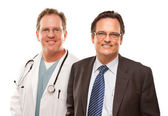 Smiling Businessman with Male Doctor or Nurse Isolated on a White Backgroun — Stock Photo