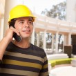 Handsome Hispanic Contractor with Hard Hat Talking on His Cell Phone. — Stock Photo