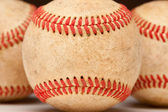 Macro Abstract Detail of Worn Leather Baseball. — Stock Photo