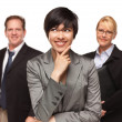 Businesswoman with Team Portrait on White — 图库照片