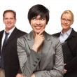 Businesswoman with Team Portrait on White — ストック写真