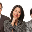 Hispanic Women and Businessman on White - Stock Photo