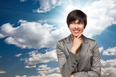 Pretty Multiethnic Young Adult Woman Over Clouds — Stock Photo