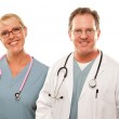 Smiling Male and Female Doctors or Nurses — Stock Photo