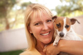Attractive Woman and Her Jack Russell Terrier Dog — Stock Photo