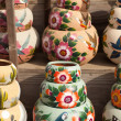 Variety of Colorfully Painted Ceramic Pots. — Stock Photo