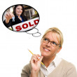 Royalty-Free Stock Photo: Woman with Thought Bubbles of Agent Handing Over House Keys