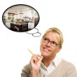 Woman with Thought Bubbles of a New Kitchen Design — Stock Photo