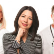 Hispanic Woman with Male and Female Doctors or Nurses — Stock Photo