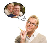 Beautiful Woman with Thought Bubbles of Herself and A Guy — Stock Photo