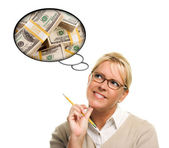 Woman with Thought Bubbles Lots of Money — Stock Photo