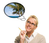 Beautiful Woman with Thought Bubbles of a Tropical Place — Stock Photo