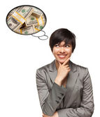 Beautiful Multiethnic Woman with Thought Bubbles of Money Stacks — Stock Photo