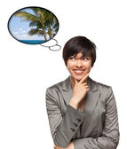 Beautiful Multiethnic Woman with Thought Bubbles of Tropical Pla — Stock Photo