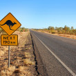 Kangaroo varningsskylt i Australien — Stockfoto