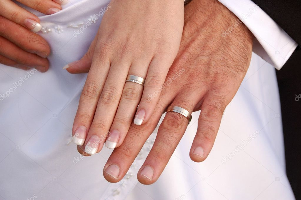 Groom Wedding Rings on Bride And Groom Showing Wedding Rings   Stock Photo    Jan Kratochvila