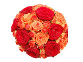 Bouquet of orange and red roses — Stock Photo