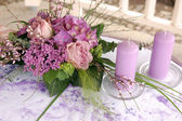 Violet wedding decoration — Stock Photo