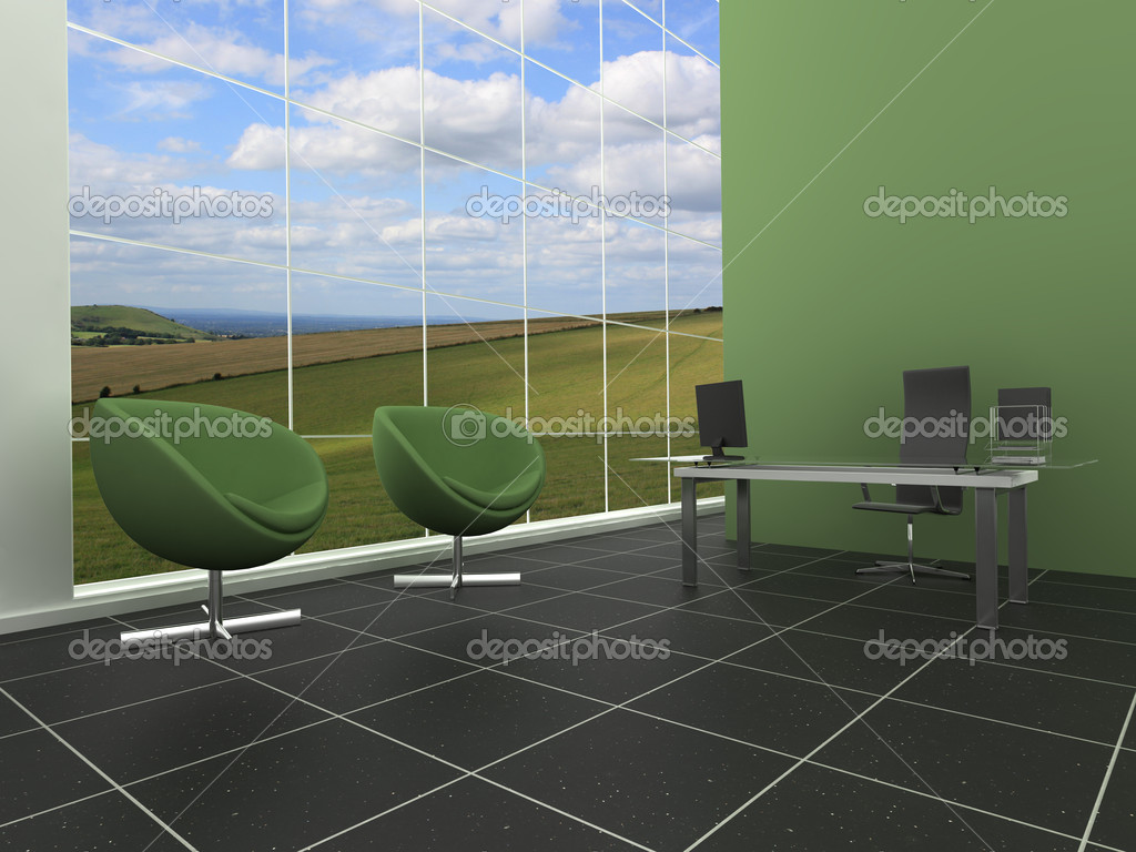 Modern, stylish office or reception area with green, natural background — Stock Photo #2709495