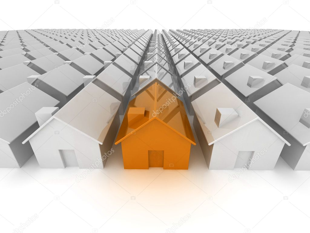 Orange house 'standing out from the crowd' — Stock Photo #2709759