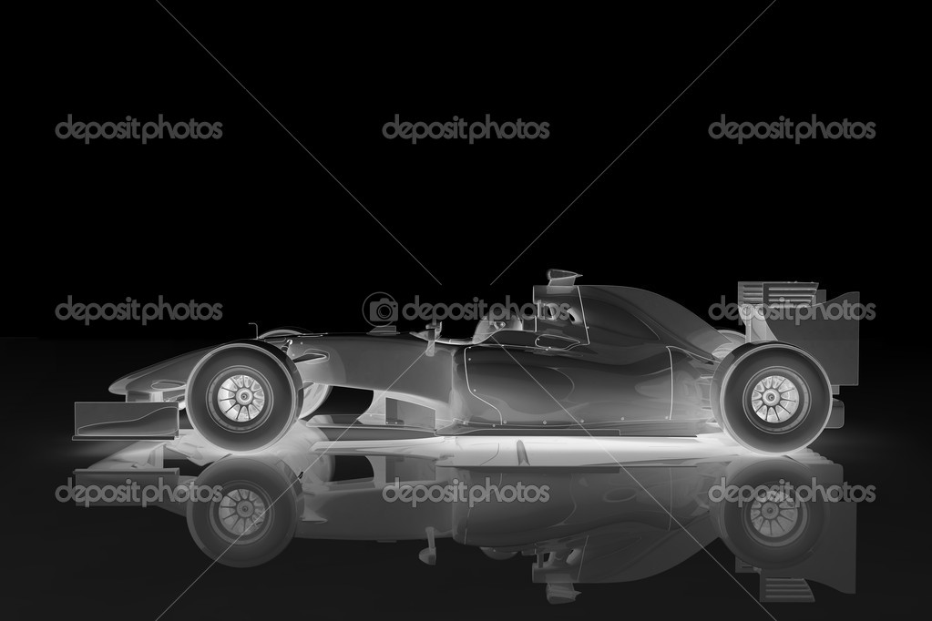Illustration of a shiny racing car on a black background — Photo #3915109